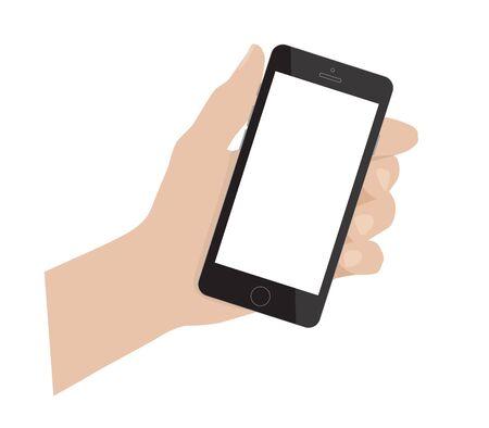 Hand holding smartphone. Smart phone blank. Simple vector illustration