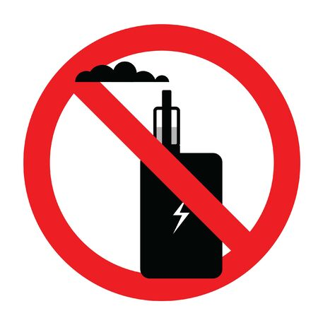 Electronic smoking prohibition sign. Simple vector illustration