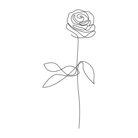One line hand drawn rose. Long stem rose. Single line flower vector illustration 向量圖像