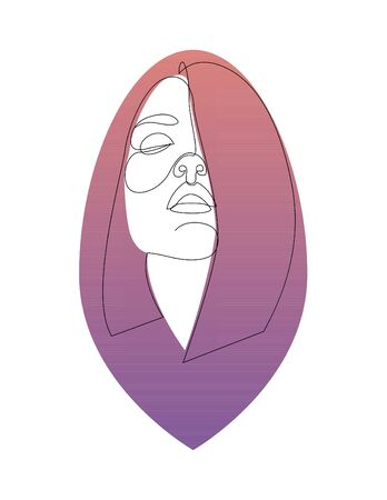 One line girl or woman portrait design with gradient background in shape of hair. Hand drawn minimalism style. Vector illustration
