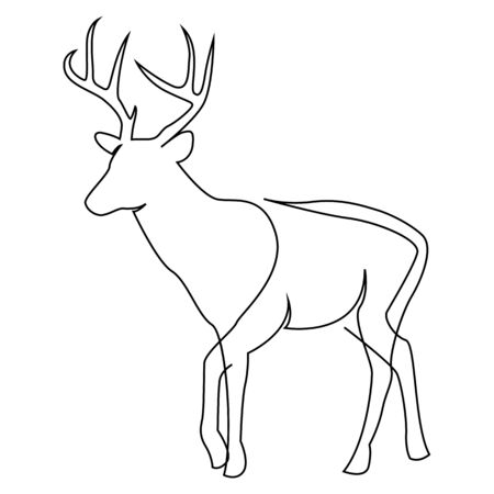 One line design silhouette of deer. Hand drawn single continuous line minimalism style vector illustration 向量圖像