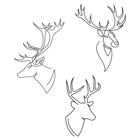 One line design silhouette of deer. Set of heads of stags. Hand drawn single continuous line minimalism style vector illustration 向量圖像