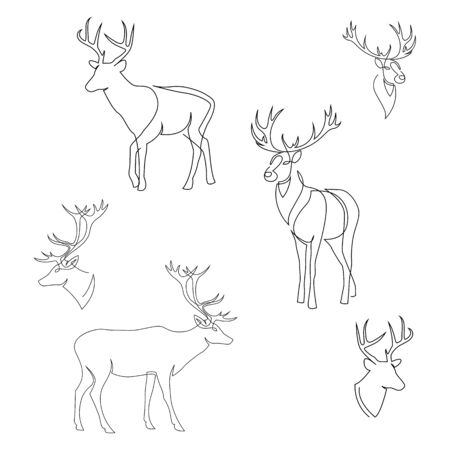 One line design silhouette of deer. Set of full height and heads. Hand drawn single continuous line minimalism style vector illustration