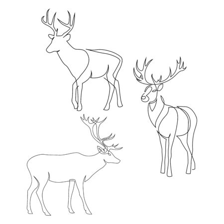 One line design silhouette of deer. Set of full height stags. Hand drawn single continuous line minimalism style vector illustration