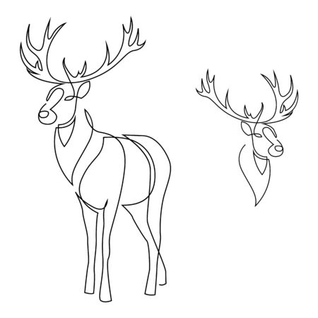 One line design silhouette of deer. Set of full height and head. Hand drawn single continuous line minimalism style vector illustration