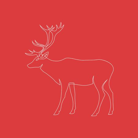 One continuous line drawing of Reindeer Christmas sign on red background. Full height deer. Vector illustration. EPS 10