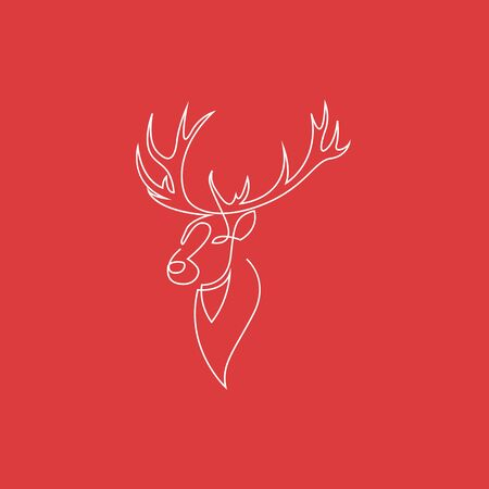 One continuous line drawing of Reindeer Christmas sign. Deer head on red background. Vector illustration. EPS 10