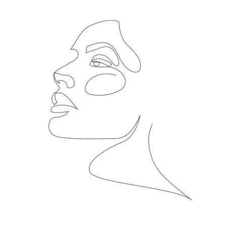 Diseño de retrato de niña o mujer de una línea. Peinado, concepto de moda, mujer belleza minimalista, ilustración vectorial para camiseta. Estilo de gráficos de impresión de diseño de eslogan