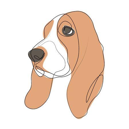 Continuous line Basset Hound. Single line minimal style dog vector illustration 向量圖像