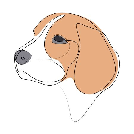 Continuous line Beagle. Single line minimal style dog vector illustration