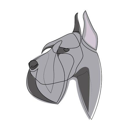 Continuous line Giant Schnauzer. Single line minimal style Riesenschnauzer dog vector illustration 向量圖像