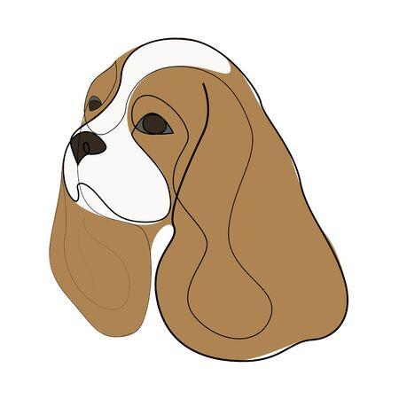 Continuous line King Charles Cavalier. Single line minimal style King Charles Spaniel dog vector illustration 向量圖像