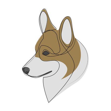 Continuous line Welsh Corgi Pembroke. Single line minimal style Corgi dog vector illustration 向量圖像