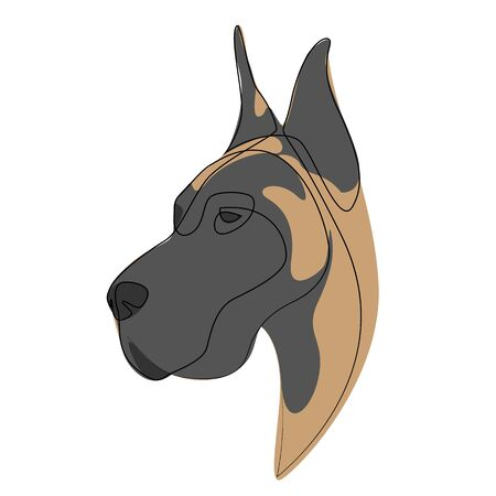 Continuous line Great Dane. Single line minimal style dog vector illustration