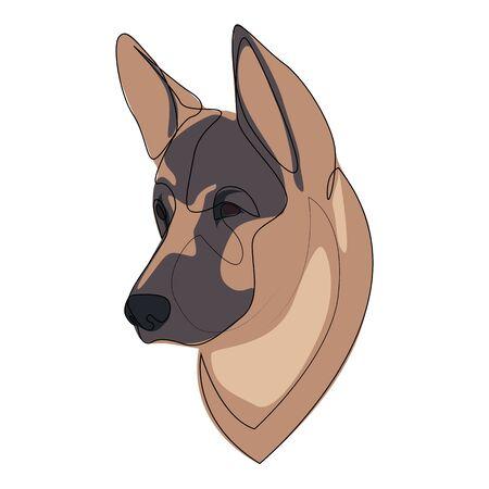 Continuous line German Shepherd. Single line minimal style Shepherd dog vector illustration