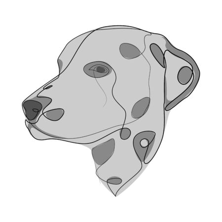 Continuous line Dalmatian. Single line minimal style dog vector illustration