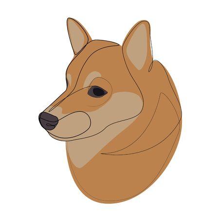 Continuous line Shiba Inu. Single line minimal style dog vector illustration
