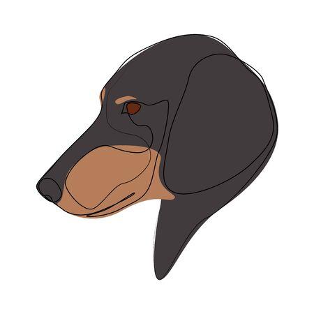 Continuous line Black Dachshund. Single line minimal style dog vector illustration