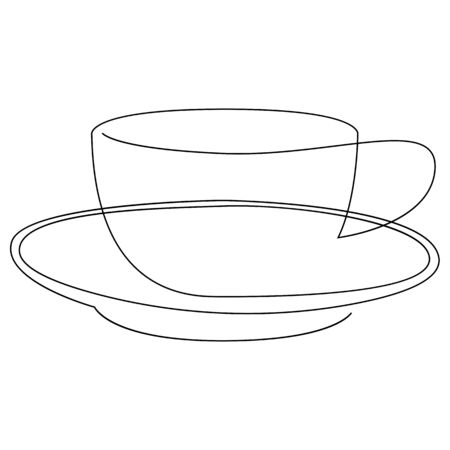 Teacup continuous line. One line tea cup. Vector illustration.