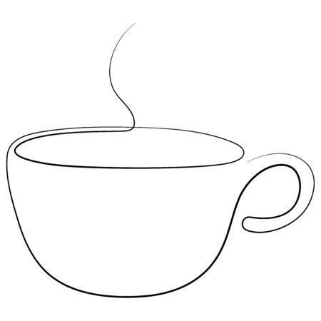 Teacup continuous line. One line tea cup. Vector illustration.