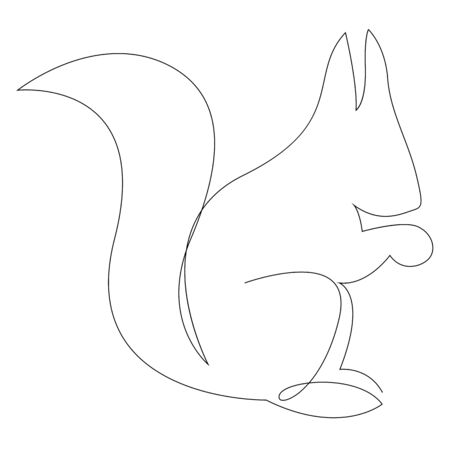 One line squirrel drawing. Squirrel in minimal line style. Vector illustration 向量圖像