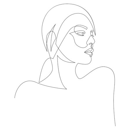 One line girl or woman portrait design. Hand drawn minimalism style. Vector illustration