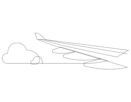 Wing of airplane and clouds. One line flying airplane illustration. Minimal style plane wing isolated on white background. Travel and tourism. Vector illustration