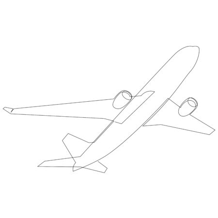 One line airplane isolated on white background, Travel and tourism 向量圖像