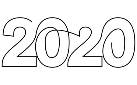 2020 New Year single continuous line art. Holiday greeting card headline decoration. Date numbers concept design. One sketch outline drawing white. Vector illustration Illustration