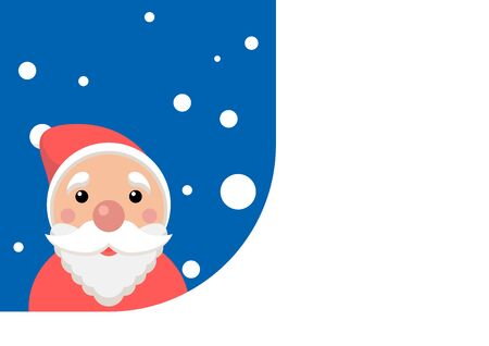 Christmas Card with Santa Claus. Vector template with copy space