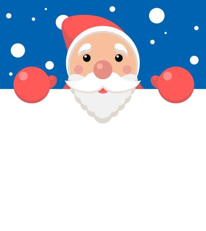 vector xmas illustration of funny santa holding blank paper with copyspace for text. christmas background
