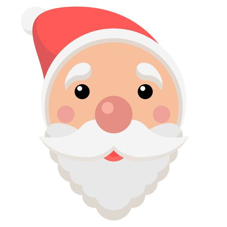 vector christmas illustration of santa claus. winter holiday cartoon with santas face, xmas icon