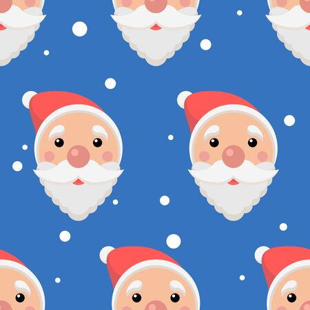 Santa faces seamless pattern. New Year and Merry Christmas background