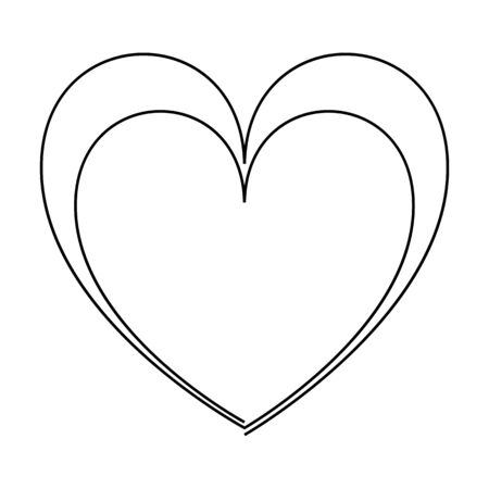 Continuous line drawing two hearts, Black and white vector minimalist illustration of love concept. One or two hearts