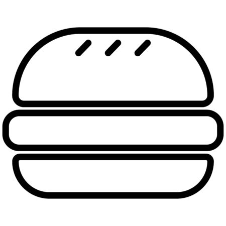 Black outlined symbol of a hamburger, isolated on white background.