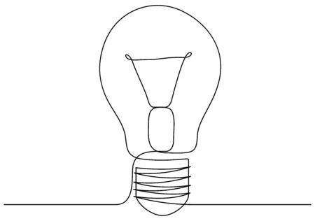 One line drawing light bulb symbol idea. Continuous line style. Vector