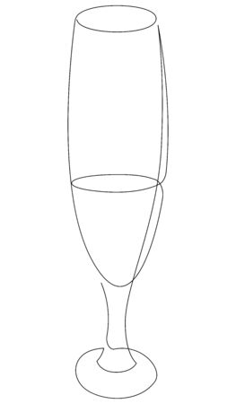 Continuous one line drawing of glass with cocktail, wine or champagne. Vector illustration Foto de archivo - 134810490