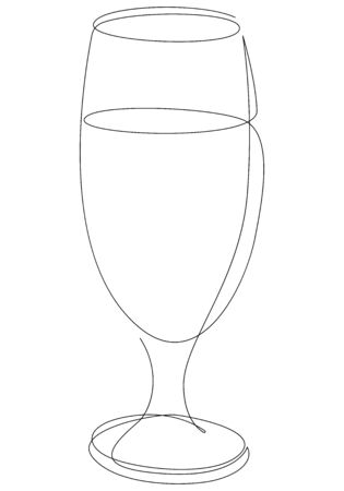 Continuous one line drawing of glass with cocktail, beer or beverage. Vector illustration Foto de archivo - 134811019