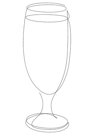 Continuous one line drawing of glass with cocktail, beer or beverage. Vector illustration
