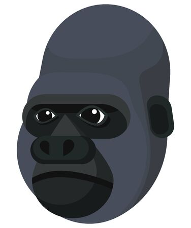 Gorilla portrait made in unique simple cartoon style. Head of ape. Isolated icon for your design. Vector illustration