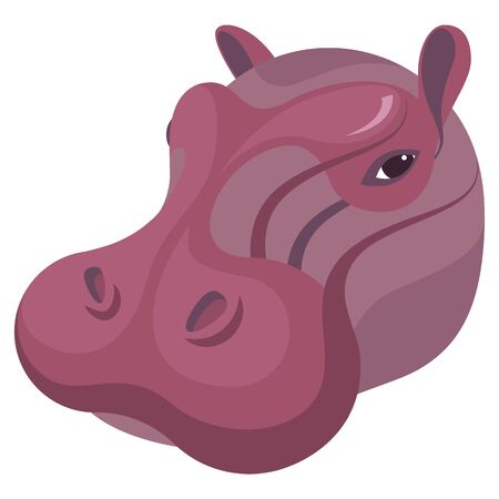 Hippopotamus portrait made in unique simple cartoon style. Head of hippo. Isolated artistic stylized icon for your design. Vector illustration Çizim