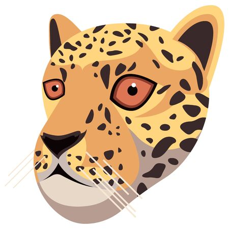 Leopard portrait made in unique simple cartoon style. Head of jaguar. Isolated icon for your design. Vector illustration