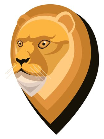 Lion portrait made in unique simple cartoon style. Head of leo. Isolated icon for your design. Vector illustration  イラスト・ベクター素材