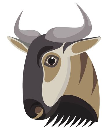 Blue wildebeest portrait made in unique simple cartoon style. Vector head of wildebeest. Isolated icon for your design. Vector illustration