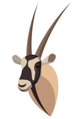 Portrait de gazelle Oryx réalisé dans un style de dessin animé simple et unique. Tête d'antilope gemsbok. Icône isolée pour votre conception. Illustration vectorielle