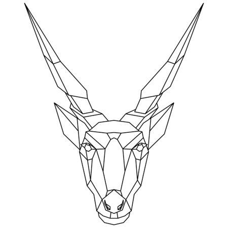 Abstract polygonal head of african antelope, eland. Geometric vector illustration. Illustration