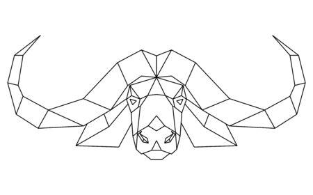 Abstract polygonal head of african bull, cape buffalo. Geometric vector illustration.