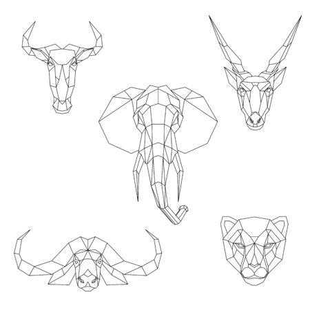 Polygonal set of African animals. Geometric heads of a blue wildebeest, cape buffalo, cheetah, eland antelope, elephant. Vector illustration.