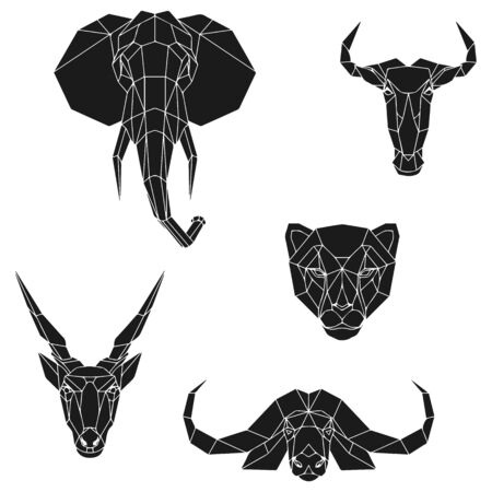 The black geometric heads of elephant, blue wildebeest, cheetah, eland antelope and cape buffalo. Set polygonal abstract animals of Africa. Vector illustration.
