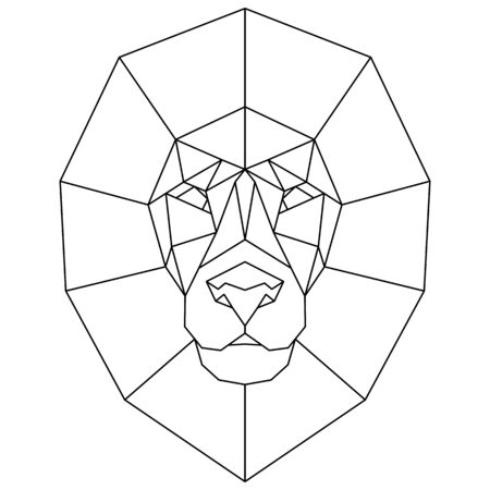 Abstract polygonal head of lion. Geometric vector illustration. Banque d'images - 138358412